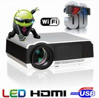 Wholesale Smart 3d Led Hd Tv - Free Shipping Hot Selling Android4.4 Bluetooth 5500 lumens Native1280X800 Full HD Smart Android LED Digital 3d TV Projector
