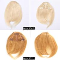 franja de pelo virgen al por mayor-Clip de pelo humano en el pelo Bangs franja humana Bold Blunt Natural Hairpiece Indian Virgin extensiones de cabello 7 colores elegir
