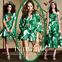 Wholesale Silk Fabric Shirts - 118cm wide 19mm 93% silk & 7% green banana tree leaves print silk satin fabric for dress shirt clothes cheongsam D319