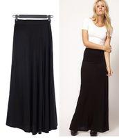 Wholesale Black Casual Skirts - New Female Skirts Women Solid Black Splice High Waist Maxi Skirt Full Length Long Skirt Stretchy Saias Femininas Faldas