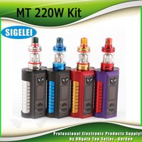 Wholesale light mod kit - Authentic Sigelei MT Starter Kits 220w TC Box Mod with Revolvr Tank Dual 18650 Top Fill Refill System Adjustable LED lights kit 100% Genuine