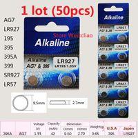 Wholesale Lr927 Button Cell - 50pcs 1 lot AG7 LR927 195 395 395A 399 SR927 LR57 1.55V alkaline button cell battery coin batteries Free Shipping