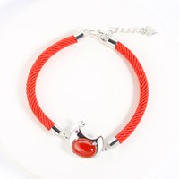 Wholesale Carnelian Bracelets - S925 silver bracelet red rope bracelets natural carnelian cute chicken bracelets Chinese animal silver bracelet woman girl gift L199