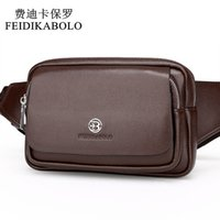 Wholesale Fashion Waist Packs - FEIDIKABOLO New Style Leather Men's Waist Packs Multifunction Chest Pack Waist Pack Hiqh Quality Men Waist bag Casual Fanny Pack