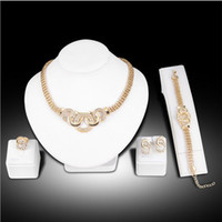 Compra Set Di Braccialetto Delle Donne-4 pezzi set di gioielli, orecchini con anello collana di braccialetti Set di moda donna kc con catene placcati oro collana di diamanti con diamanti collane 5 set