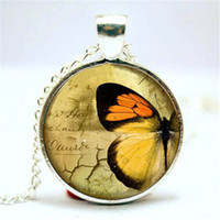 Wholesale Photo Butterflies - 10pcs lot Butterfly Necklace, Vintage Style Jewelry, Cute Butterfly Pendant Glass Photo Cabochon Necklace