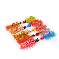 faldas de jigs al por mayor-Nuevo Arrives Bass Jigs Fishing Bait y Falda de silicona 8cm Señuelo de la pesca 13g Lifelike 3D Eyes Buzzbait Single Hook Lure con 10 piezas