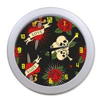 Wholesale flower wall clocks - Wholesale-Original Vintage Wall Clocks For Living Room Customized Pirate Skull Flower Art Wall Clock For Bedroom 20cm in Diameter