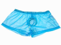 Wholesale Glasses Underwear - Men's Boxers Sexy Transparent Pants Glass Silk Men's Underwear Sexy U Convex Comfort Sexy Underwear Men Gay Boxers Men's Underpants