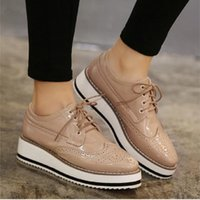 Wholesale Hot Womens Feet - Wholesale- FOOT POLE BEAUTY Hot Sale Womens Flats Round Toe Patent Leather Platform Shoes Oxford Lace up Derby Shoes Creepers Brogue Shoes