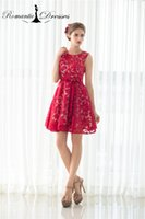Wholesale Lace Mini Dress China - Short Prom Dresses Girls Party Cocktail Dresses Red Lace Mini Homecoming Dresses 2017 Cheap China Romantic Dresses Real photos 11521