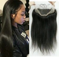 Wholesale silk lace frontal hair resale online - Grade Pre Plucked Lace Frontal Peruvian Silk Straight Natural Hairline Hair Frontal Lace Virgin Hair