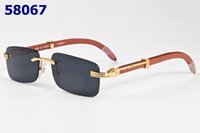 Wholesale Gold Arm Sunglasses - New Sunglasses Fashion Men Women Rimless Sun glasses Handmade Bamboo Arms Glasses Gold Wood Glasses Frames Eyewear