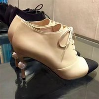 Wholesale plus size sexy boots - 2017 Women Sexy High Heel Ankle Boots Luxury Brand Plus Size EU42 Fashion Boots Pointed Toe Patchwork Shoes Pearl Snake Heels Shoes A82