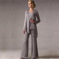 Wholesale long jacket suits women - New Elegant Grey Chiffon Weddings Mother of The Groom Bride Suits With Jacket Women Mother's Pants robe de mere de mariee Custom Made