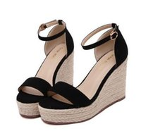 Wholesale Straw Wedges Shoes - Hot Sale Summer Wedges Sandals Female Shoes Women Platform Shoes Flip Flops Open Toe High-heeled Shoes