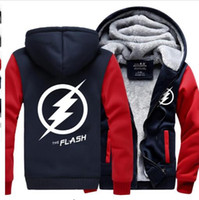 Wholesale Flash Print Button - Wholesale- 2016 Winter The Flash Jackets men hipster Coat Anime Justice League Hooded fashion Thick Zipper Sweatshirt fleece tracksuit down