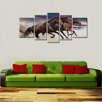 three horse painting 2018 - Canvas Prints 5 Panels Three Horses Running Picture Wall Art Animal Paintings Modern Artwork for Home Decor with Wooden Framed Ready to Hang