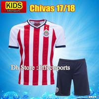 Wholesale Boys Red Set - Mexico's Club boys Chivas de Guadalajara 17 18 Soccer Jerseys Kits Kids Youth 2017 A.PULIDO #9 camiseta de futbol Set football shirts