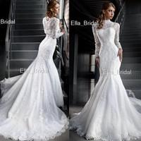 Wholesale High Quality Making Dresses - Romantic Lace Mermaid Wedding Dress with Long Sleeve High Neck Jacket Bolero Factory High Quality Custom Made Dubai African Arabic Style New