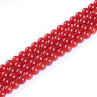 piedras de ónix cuentas collares al por mayor-4 mm 6 mm 8 mm 10 mm 12 mm cuentas de piedra natural liso redondo ágata roja cuentas de ónix para la fabricación de joyas de bricolaje collar pulsera