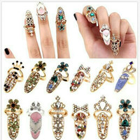 Wholesale Adjustable Ring Nail - New Rhinestone Bowknot Finger Nail Ring Charm Crown Flower Crystal Personality Art Nail adjustable Rings For women Fashion Jewelry