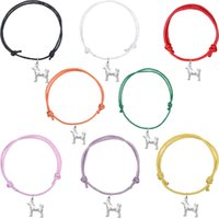 Wholesale Dog Cord - Multi Colors Wax Cord Dog Shape Silver Plated Pendant Bracelets Optional Colors Fashion Charms Gift Accessories
