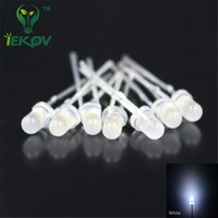Vente en gros - 100pcs LED 3MM Diffused White LEDS Round Top Urtal Bright Led Bulb Light Lamp F3MM Emitting Diodes Composants électroniques