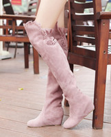 Wholesale Europe New Wedges - 2016 new fashion autumn and winter foreign trade large yards knee boots women were thin boots, hot now in Europe and the United States!