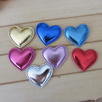 Wholesale Padded Appliques Hearts - PU patches 4.5cm Padded Felt heart shape 100pcs garment appliques for decoration DIY hair accessories