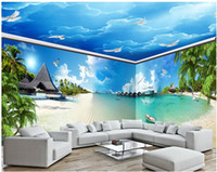 Wholesale Living Proof Full - 3d room wallpaer custom mural photo Blue sea coast beach full house background wall 3d wall murals wallpaper for walls 3 d