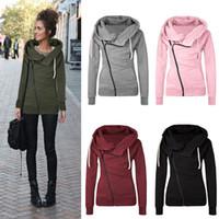 Wholesale Solid Womens Sweatshirts - Fashion Womens Ladies Oblique Zipper Sweater Sweatshirt Long Sleeve Slim Fit Jumper Tracksuit Tops Zip Up Jacket Coat