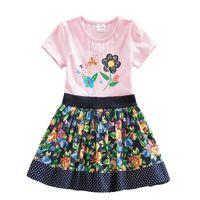 Wholesale Nova Kids Clothes - 4-8Y NEAT Kid Summer Dress Baby Girl Tutu Party Short Sleeve Dresses Vestidos Child Clothes Wear Nova Pink Dresses SH6241