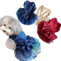 Wholesale Drop Shipping Pet Apparel - 2015 Hot Selling FreeShipping Dog Puppy Wedding Party Lace Skirt Clothes Bow Tutu Princess Dress Pet Apparel Drop Shipping