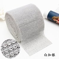 Wholesale Sewing Charms Wholesale - Fashion Sew On 24rows High Quality Rhinestone Mesh Trim 4mm Silver 10yards Roll Free Shipping Whtie Plastic Base For Garment