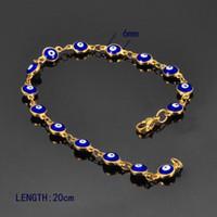brazaletes turcos al por mayor-Al por mayor-FUNIQUE Pulsera de las mujeres de moda chapado en oro Pulsera de acero inoxidable brazaletes esmalte Evil Eyes Chain Bracelet 20cm joyería turca
