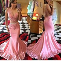 Wholesale Dress Evening Squins - 2017 Pink Mermaid Sleeveless Sweep Train Beads Applique Sexy Luxurious Evening Gowns Squins Beautiful Evening Gowns