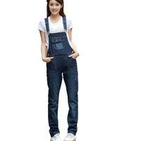Wholesale Overall Jeans Girl - Wholesale- Womens Jumpsuit Denim Overalls 2017 New denim bib pants female loose suspenders jeans jumpsuit girls overalls jeans