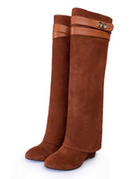 Wholesale Light Brown Wedges - New stylish Winter knee high boots Women wedge heel shark lock Strap fold point toe ladies knight Layer boots