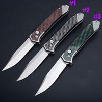 ingrosso nuovi arrivi coltelli tasca-Nuovo Arrivo Auto Tactical Knife 8Cr13 Pietra Wash Blade Manico In Fibra di Carbonio Escursione di Campeggio Esterna Caccia EDC Coltelli Tascabili 3 Colori