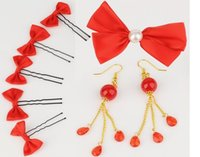 Wholesale Gold Pearls Bride Accessories Sets - Wedding accessories headdress red bow bride hair accessories 8 pieces