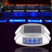 Wholesale Solar Powered Led Lights Dock - Solar Powered 6LED Road Stud Driveway Pathway Stair Deck Dock Lights Studs marker Pathway light 6LED White Red Blue Yellow
