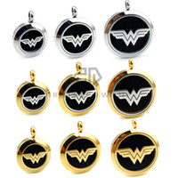 Wholesale Stainless Steel Pendant Round - Chain as Gift Round Silver and Gold Wonder Woman (20-30mm) Aromatherapy   Essential Oils Stainless Steel Perfume Diffuser Locket