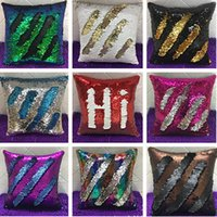 Wholesale Sofa Cotton Cushion Covers - New Double Mermaid Sequin Pillow Case Cover Glamour Square Pillow Case Cushion Cover Home Sofa Car Decor Bright Pillow Covers Gifts HH-P09