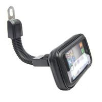 водонепроницаемая подвеска для мотоциклов оптовых-Оптово-мотоциклетная подставка для мобильного телефона для iPhone 4 5S 6 Plus GPS-мотор Зеркало заднего вида + водонепроницаемая сумка soporte movil moto