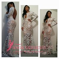 Wholesale Celebrate Dresses - Sexy White Lace Prom Evening Dresses 2017 Special Occasion Dress Mermaid Keyhole Neck Long Sleeves Open Back Formal Celebrate Gowns