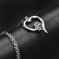 Wholesale human heart halloween - Black Enamel Dog Paw Heart Pendant Necklace Silver Chain Human Best Friends Pet Jewelry for Women Children Gift 162118