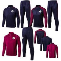 Wholesale Men S Track Suits - 2017 2018 TOP quality Kun Aguero survetement football track suits training suits 2017 man city soccer jersey Long pants sports Training suit