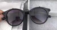 homens s óculos de sol arredondado venda por atacado-Homens Rodada Homme 0196 / S Preto Óculos De Sol cinza escuro Len Full Frame Óculos De Sol De Metal Nova Marca com caixa