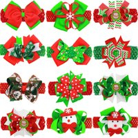 Wholesale Double Bow Clips - Baby Girls Headbands Christmas Boutique Hair Accessories Kids Flower Elastic Headband Hair Clips Double Use Infant Ribbon Bow KHA189